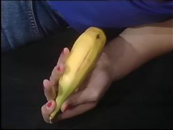Short Hair, Jeans Booty, Banana Dildo
