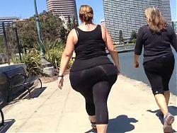 Huge White BBW Candid Spandex Ass Walk