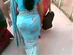 Desi big ass in blue saree for you cum