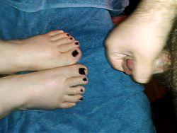 cumming on wife's feet.