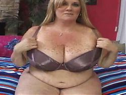 Mature BBW Gets Her Big Freckled Tits Jizzed On